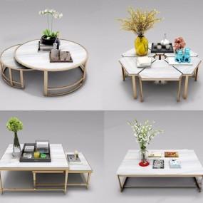 现代茶几组合3D模型【ID:628050063】