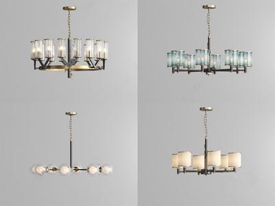 现代金属轻奢水晶多头吊灯组合3D模型【ID:741358893】