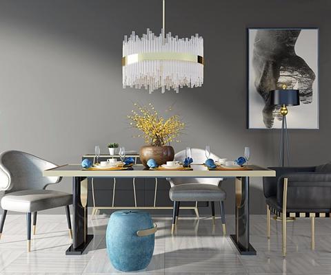 后现代奢华餐桌椅组合3D模型【ID:327930495】