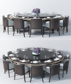 现代实木多人圆形餐桌椅餐具组合3D模型【ID:327785487】