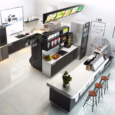 现代奶茶店3D模型【ID:328439833】