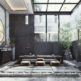 新中式茶室3D模型【ID:634898162】