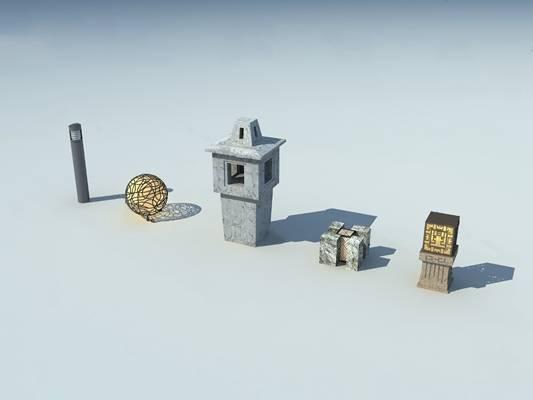 中式草坪灯3D模型下载【ID:619483871】