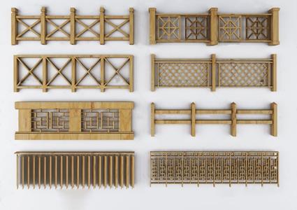 中式实木栏杆护栏3D模型【ID:831406581】