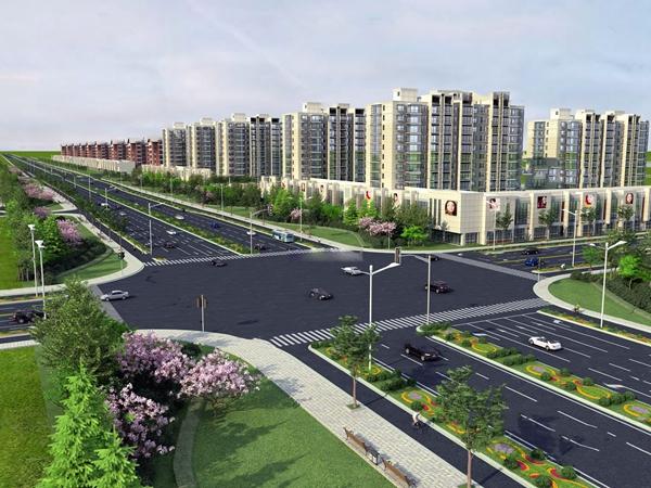 现代马路景观住宅区建筑外观3D模型【ID:248245041】