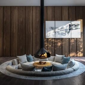 现代圆形沙发3D模型【ID:634675700】