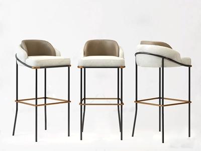 现代布艺吧椅3D模型【ID:750468207】