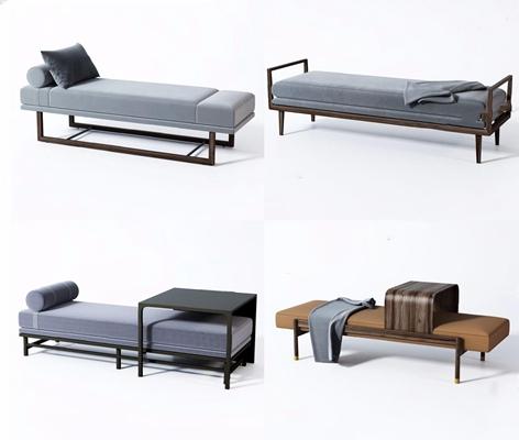 新中式床尾椅長凳組合3D模型【ID:428261671】