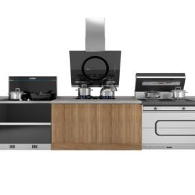 现代厨房器具集成灶组合3D模型【ID:827815352】
