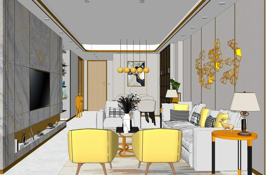北歐風格客廳餐廳室內設計SU模型【ID:937019809】