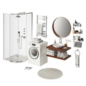 现代淋浴房洗手台卫浴用品组合3D模型【ID:228423544】