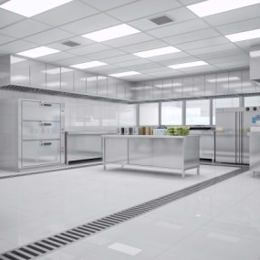 现代酒店厨房3D模型【ID:428444713】