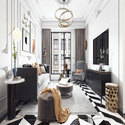法式客厅 法式客厅 多人沙发 沙发凳 单椅 茶几 角几 凳子 电视柜 吊灯 落地灯 边柜 摆件 装饰画