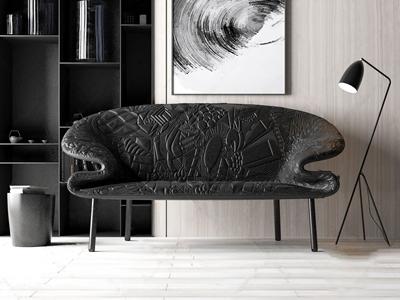 新中式雙人沙發3D模型【ID:632400525】