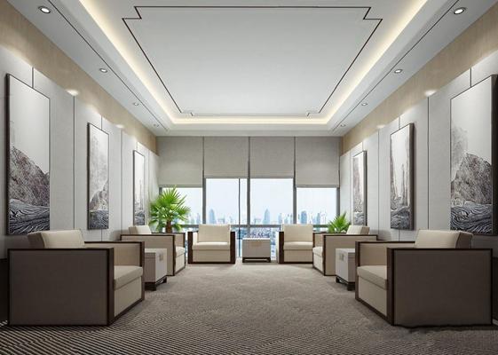 新中式接待室3D模型【ID:828144100】