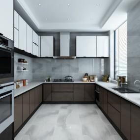 现代厨房3D模型【ID:128408468】