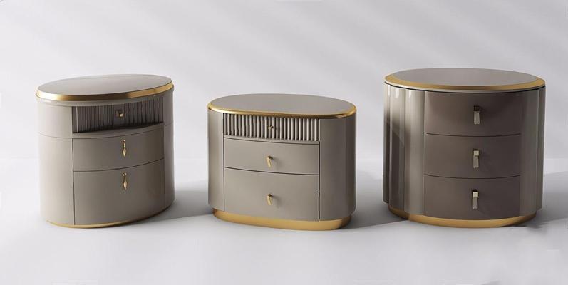 现代床头柜边几组合3D模型【ID:928336644】