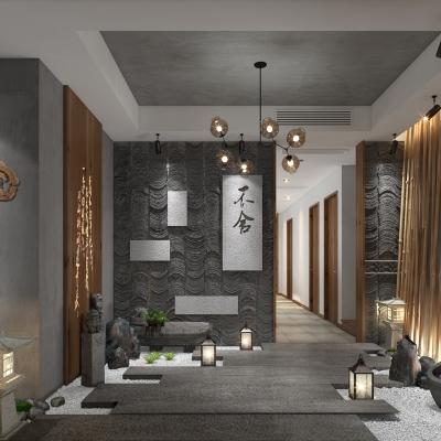 新中式茶樓會所3D模型【ID:427796103】