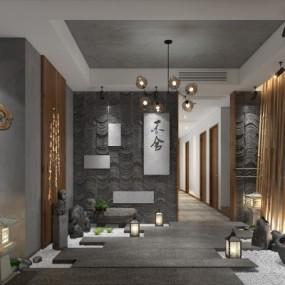 新中式茶楼会所3D模型【ID:427796103】