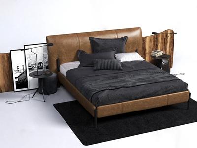 现代皮革双人床床头柜 现代双人床 皮革双人床 床头柜 台灯