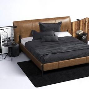 现代皮革双人床床头柜3D模型【ID:834898799】