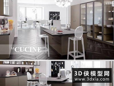 现代厨柜国外3D模型【ID:829361017】