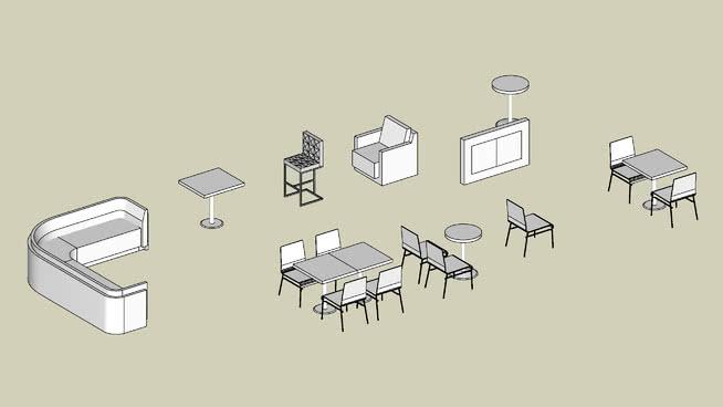 餐飲家具收藏SU模型【ID:539071496】