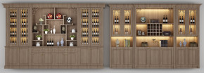 中式实木酒柜酒水摆件组合3D模型【ID:927824028】