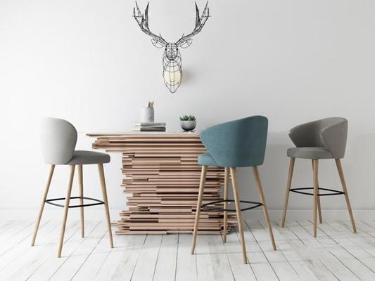 北歐吧椅3D模型【ID:327910159】