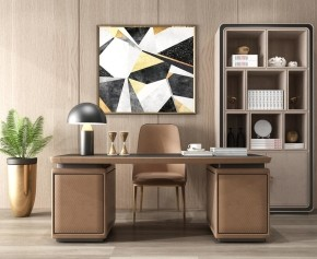 现代书桌椅书柜摆件组合3D模型【ID:127752973】