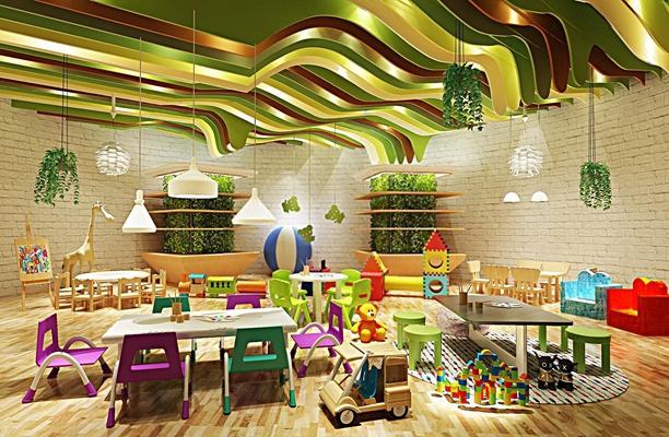 现代幼儿园儿童卡通家具桌椅沙发玩具吊灯雕刻版组合3D模型【ID:527995120】
