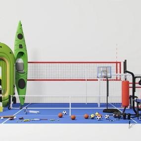 体育设施运动场地组合3D模型【ID:628292089】
