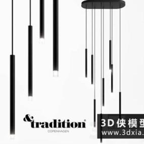 现代管状吊灯国外3D模型【ID:829350760】