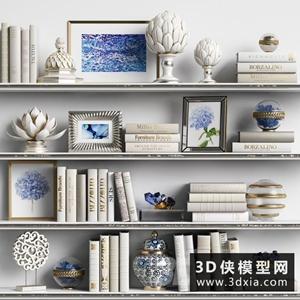 欧式装饰品组合国外3D模型【ID:929321840】
