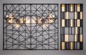 工业风水表壁灯隔断屏风3D模型【ID:827813488】