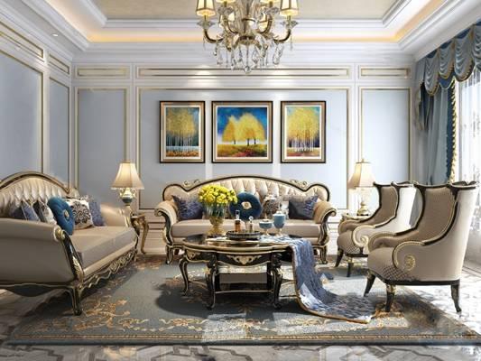 美式沙发茶几组合3D模型【ID:624888076】