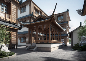 新中式古建客棧3D模型【ID:927822542】