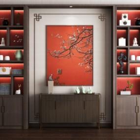 新中式装饰柜端景柜摆件组合3D模型【ID:927838286】
