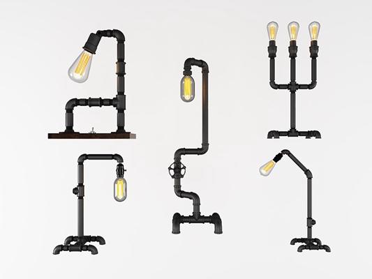 工業風管道臺燈3D模型【ID:628044106】
