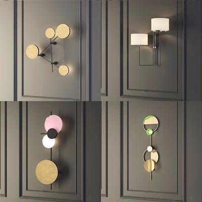 现代圆形金属壁灯组合3D模型【ID:528280911】