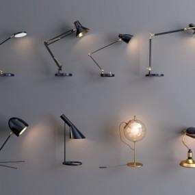 现代金属台灯组合3D模型【ID:627805153】