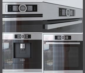 现代咖啡机烤箱组合3D模型【ID:827813398】