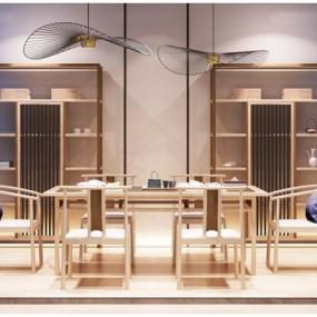 新中式餐桌椅装饰架组合3D模型【ID:327902403】