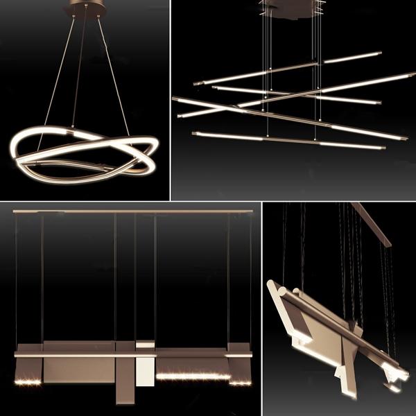 现代金属吊灯组合3D模型【ID:747087879】