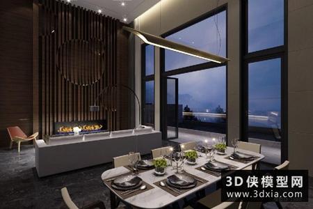 现代客厅餐厅国外3D模型【ID:729906751】