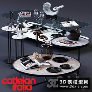 现代茶几装饰品组合模型下载国外3D模型【ID:829327192】