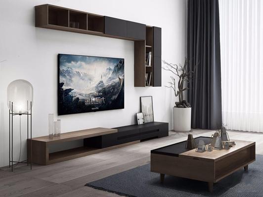 现代电视柜茶几组合3D模型【ID:928186007】