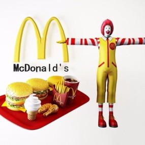 麦当劳人物汉堡3D模型【ID:928340103】