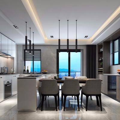現代簡約廚房餐廳3D模型【ID:127762844】