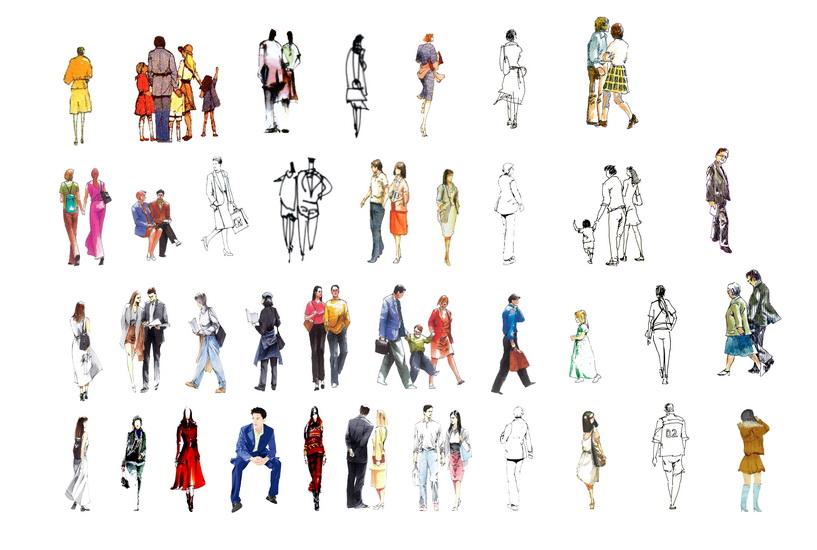 2D手繪人物組合SU模型【ID:837036099】